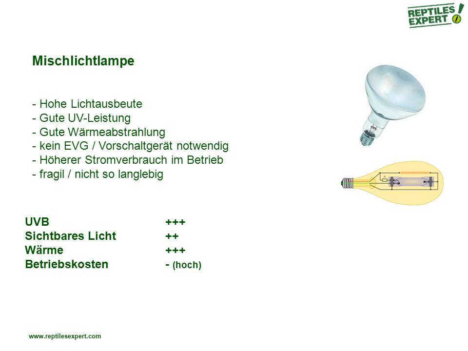www.reptilesexpert.com Mischlichtlampe - Hohe Lichtausbeute - Gute UV-Leistung - Gute Wärmeabstrahlung - kein EVG / Vorschaltgerät notwendig - Höherer Stromverbrauch im Betrieb - fragil / nicht so langlebig UVB+++ Sichtbares Licht++ Wärme+++ Betriebskosten- (hoch)