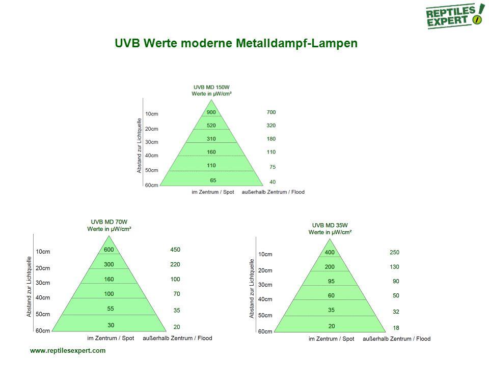 www.reptilesexpert.com UVB Werte moderne Metalldampf-Lampen