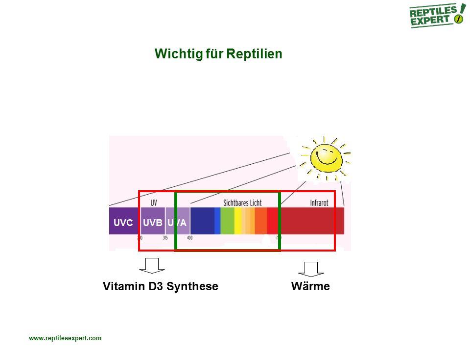 www.reptilesexpert.com UVA – B – C UVC (200-280nm): natürlich fast nicht vorhanden (Atmosphäre filtert 100%) sehr gefährlich – wird für Entkeimung verwendet UVB (280-315nm): wird bis zu 90% von der Atmosphäre gefiltert wichtig für Vit D3 Synthese – Optimum um 295nm verantwortlich für Sonnenbrand & Bräunung UVA (315-400nm): gelangt nahezu vollständig auf die Erdoberfläche kurzfristige Bräunung
