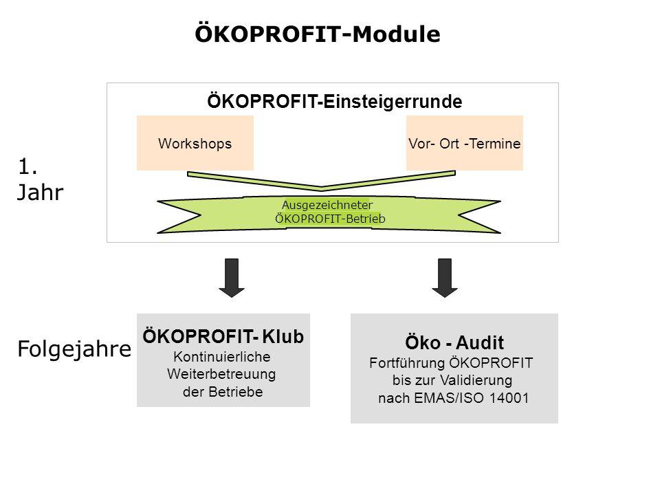 ÖKOPROFIT-Module ÖKOPROFIT-Einsteigerrunde Ausgezeichneter ÖKOPROFIT-Betrieb Vor- Ort -TermineWorkshops 1.