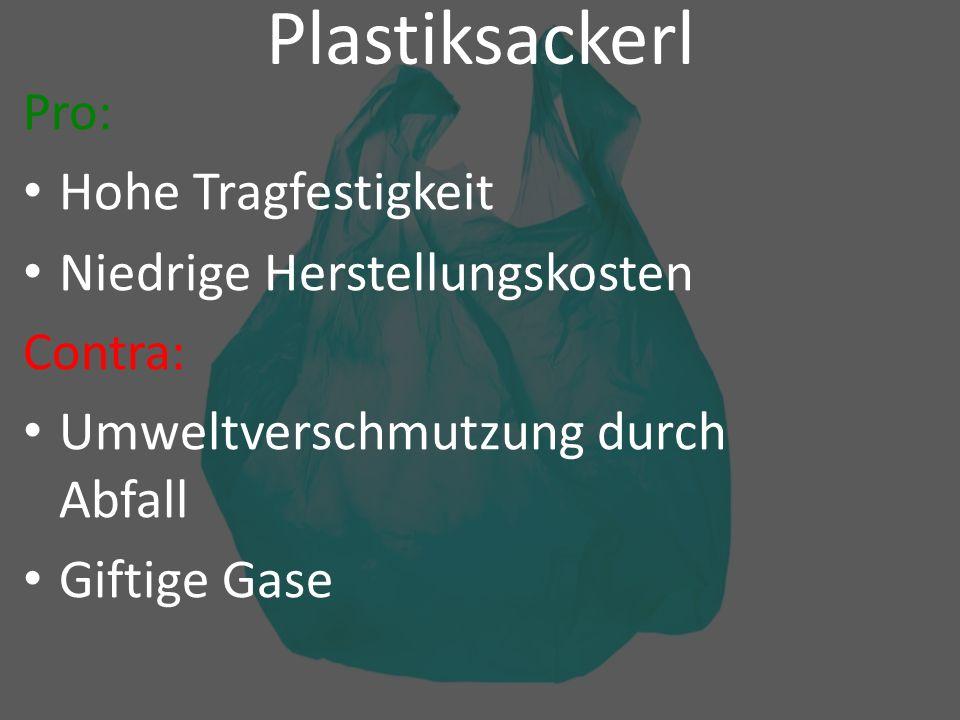 Plastiksackerl Pro: Hohe Tragfestigkeit Niedrige Herstellungskosten Contra: Umweltverschmutzung durch Abfall Giftige Gase