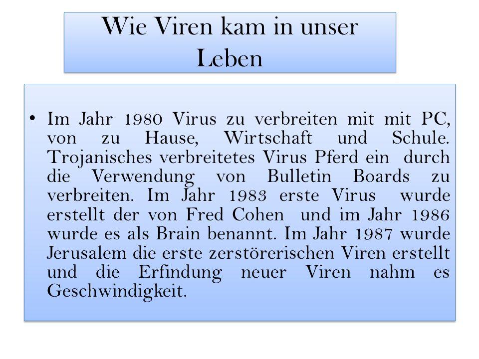 Wie Viren kam in unser Leben Im Jahr 1980 Virus zu verbreiten mit mit PC, von zu Hause, Wirtschaft und Schule.