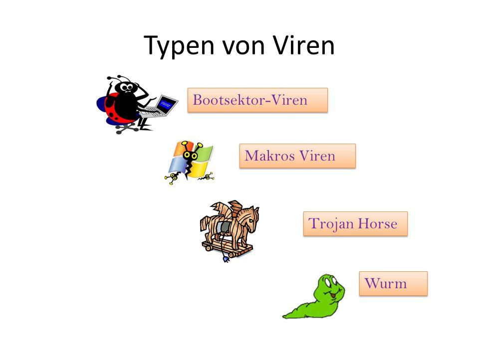 Typen von Viren Bootsektor-Viren Makros Viren Trojan Horse Wurm
