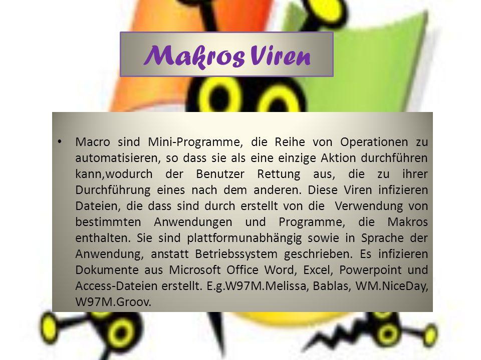 Makros Viren Macro sind Mini-Programme, die Reihe von Operationen zu automatisieren, so dass sie als eine einzige Aktion durchführen kann,wodurch der Benutzer Rettung aus, die zu ihrer Durchführung eines nach dem anderen.