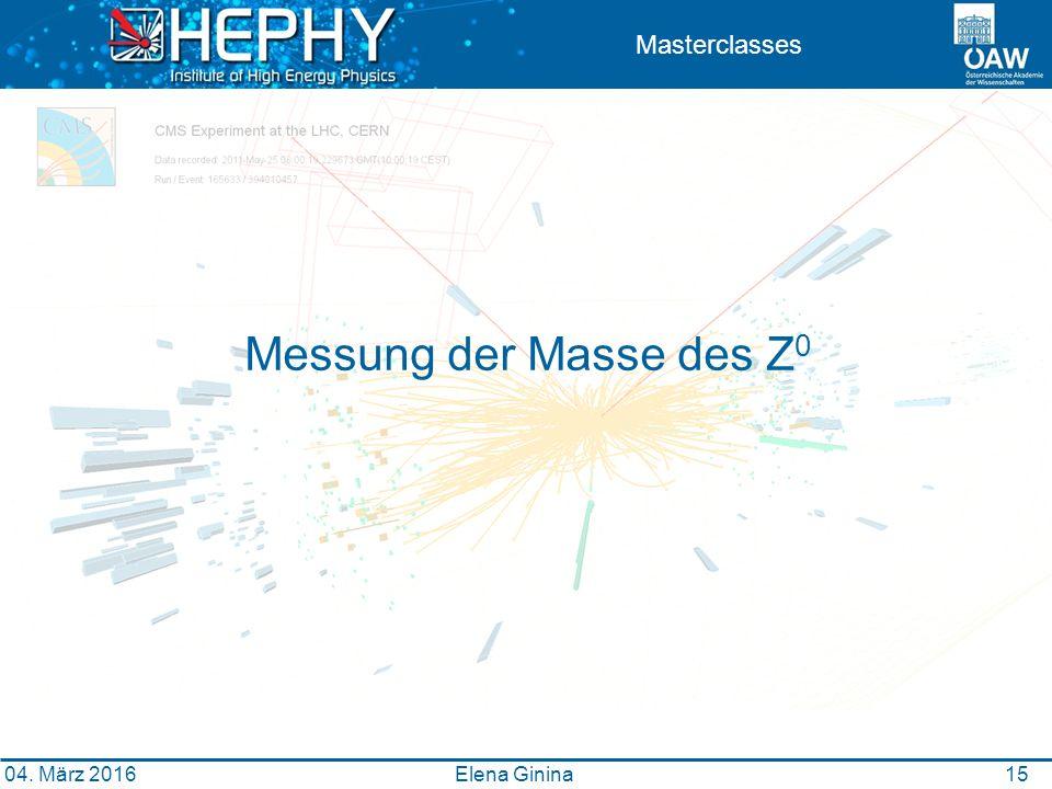 1515 Masterclasses Messung der Masse des Z 0 Elena Ginina 04. März 2016