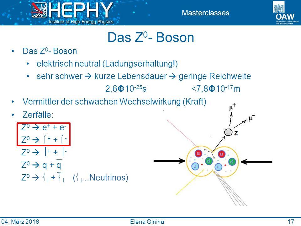 Das Z 0 - Boson elektrisch neutral (Ladungserhaltung!) sehr schwer  kurze Lebensdauer  geringe Reichweite 2,6  10 -25 s <7,8  10 -17 m Vermittler der schwachen Wechselwirkung (Kraft) Zerfälle: Z 0  e + + e - Z 0   + +  - Z 0   + +  - Z 0  q + q Z 0   l +  l (  l...Neutrinos) 1717 Masterclasses Das Z 0 - Boson Elena Ginina 04.