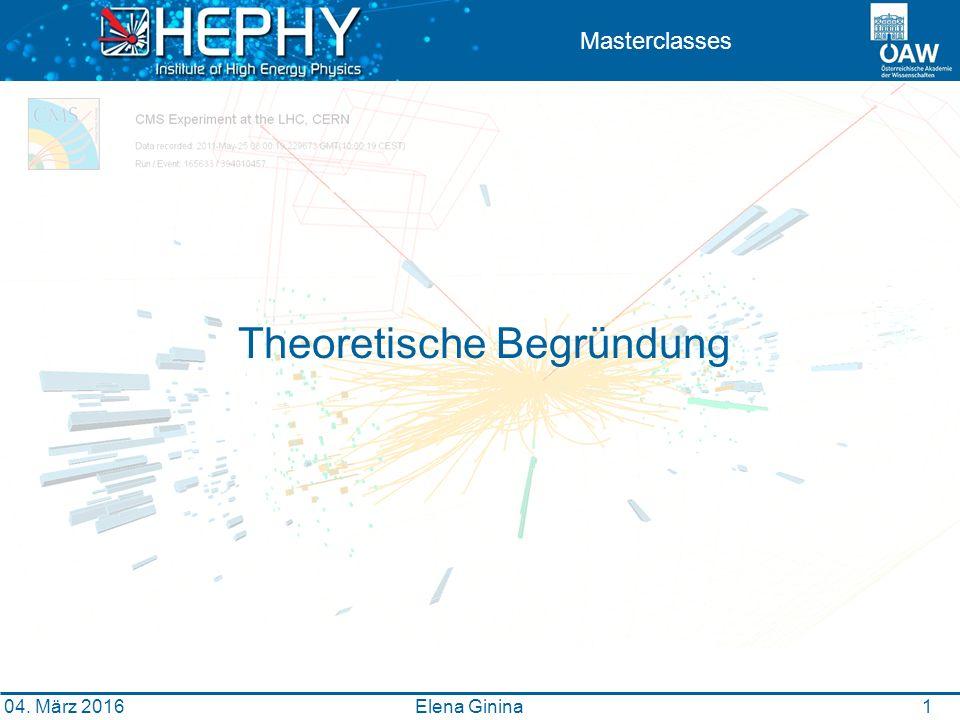 1 Masterclasses Theoretische Begründung Elena Ginina 04. März 2016