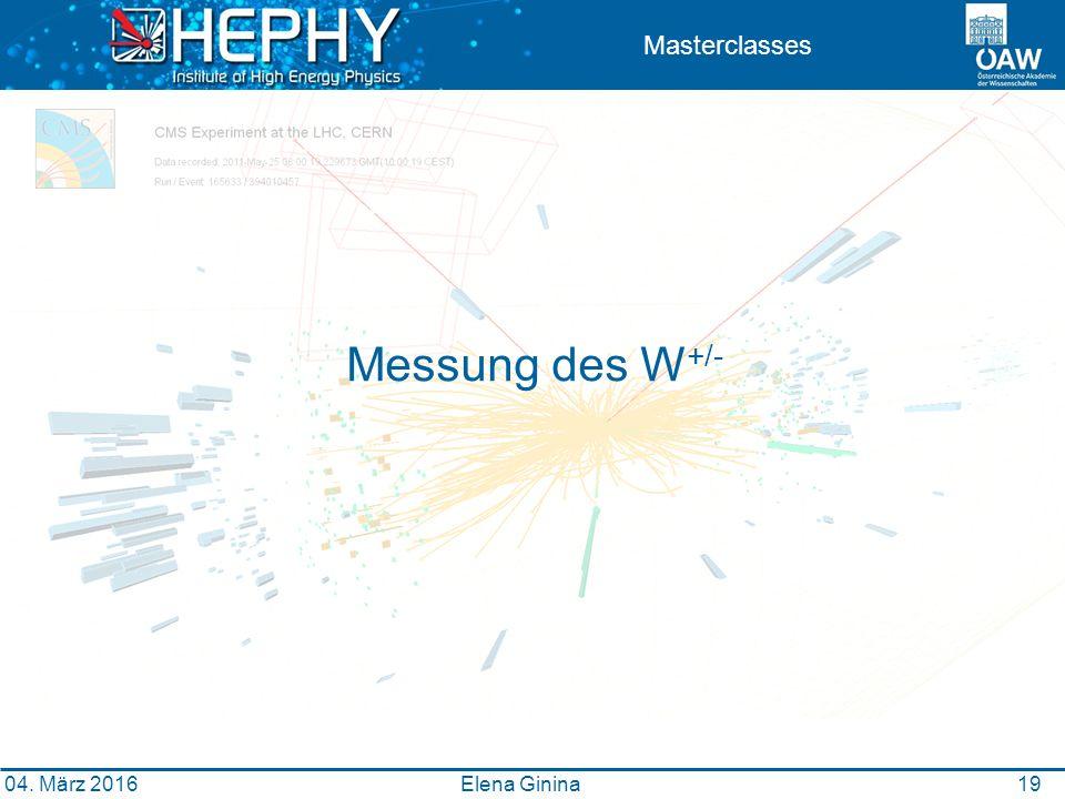 19 Masterclasses Messung des W +/- Elena Ginina 04. März 2016