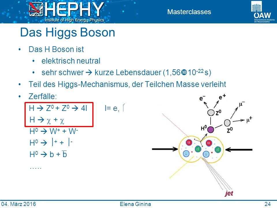 2424 Masterclasses Das Higgs Boson Elena Ginina Das H Boson ist elektrisch neutral sehr schwer  kurze Lebensdauer (1,56  10 -22 s) Teil des Higgs-Mechanismus, der Teilchen Masse verleiht Zerfälle: H  Z 0 + Z 0  4ll= e,  H   +  H 0  W + + W - H 0   + +  - H 0  b + b …..