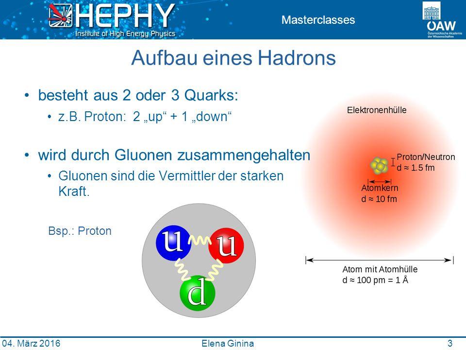 3 Masterclasses Aufbau eines Hadrons besteht aus 2 oder 3 Quarks: z.B.