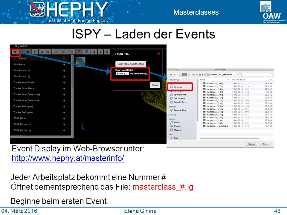 49 04. März 2016 Elena Ginina 48 ISPY – Laden der Events Event Display im Web-Browser unter: http://www.hephy.at/masterinfo/ http://www.hephy.at/maste