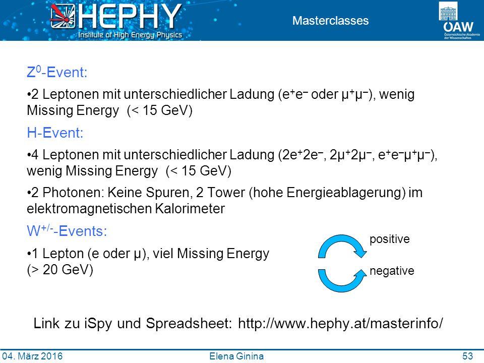 5353 Masterclasses Z 0 -Event: 2 Leptonen mit unterschiedlicher Ladung (e + e – oder μ + μ – ), wenig Missing Energy (< 15 GeV) H-Event: 4 Leptonen mit unterschiedlicher Ladung (2e + 2e –, 2μ + 2μ –, e + e – μ + μ – ), wenig Missing Energy (< 15 GeV) 2 Photonen: Keine Spuren, 2 Tower (hohe Energieablagerung) im elektromagnetischen Kalorimeter W +/- -Events: 1 Lepton (e oder μ), viel Missing Energy (> 20 GeV) Elena Ginina positive negative Link zu iSpy und Spreadsheet: http://www.hephy.at/masterinfo/ 04.