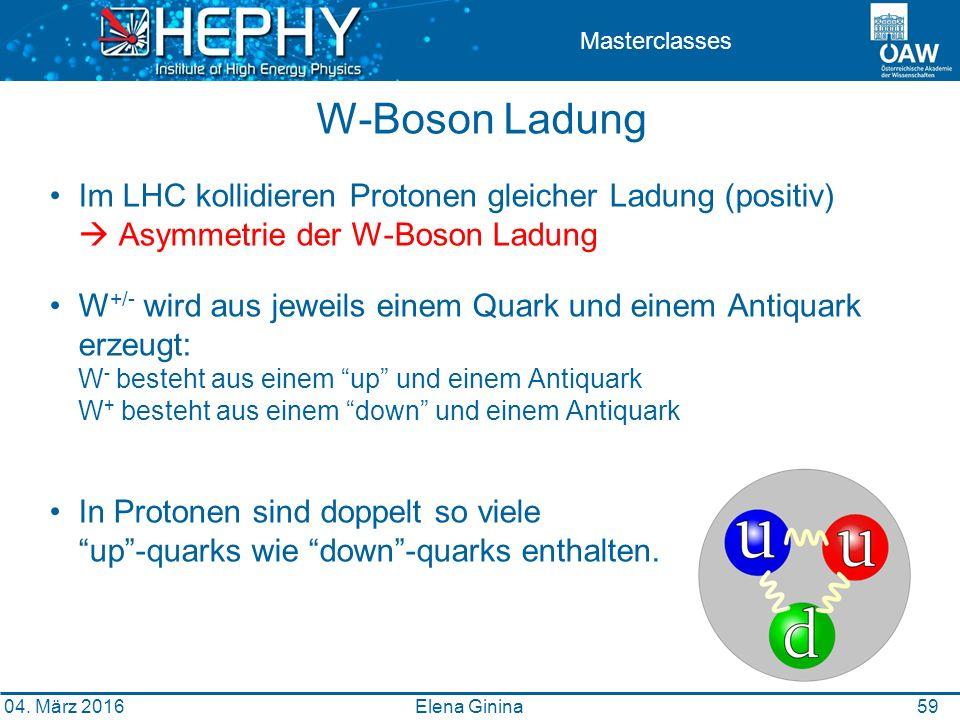 59 Masterclasses W-Boson Ladung Im LHC kollidieren Protonen gleicher Ladung (positiv)  Asymmetrie der W-Boson Ladung W +/- wird aus jeweils einem Quark und einem Antiquark erzeugt: W - besteht aus einem up und einem Antiquark W + besteht aus einem down und einem Antiquark In Protonen sind doppelt so viele up -quarks wie down -quarks enthalten.