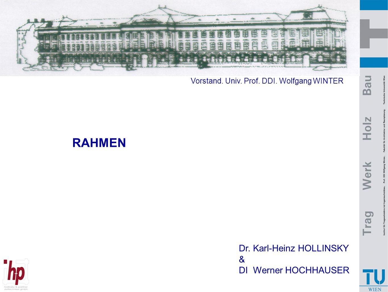RAHMEN Dr. Karl-Heinz HOLLINSKY & DI Werner HOCHHAUSER Vorstand. Univ. Prof. DDI. Wolfgang WINTER
