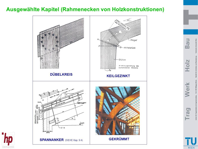 Ausgewählte Kapitel (Rahmenecken von Holzkonstruktionen) DÜBELKREIS GEKRÜMMT SPANNANKER (SIEHE Kap. 9.4) KEILGEZINKT