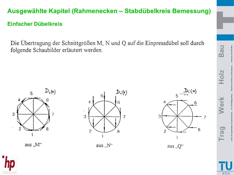 Ausgewählte Kapitel (Rahmenecken – Stabdübelkreis Bemessung) Einfacher Dübelkreis