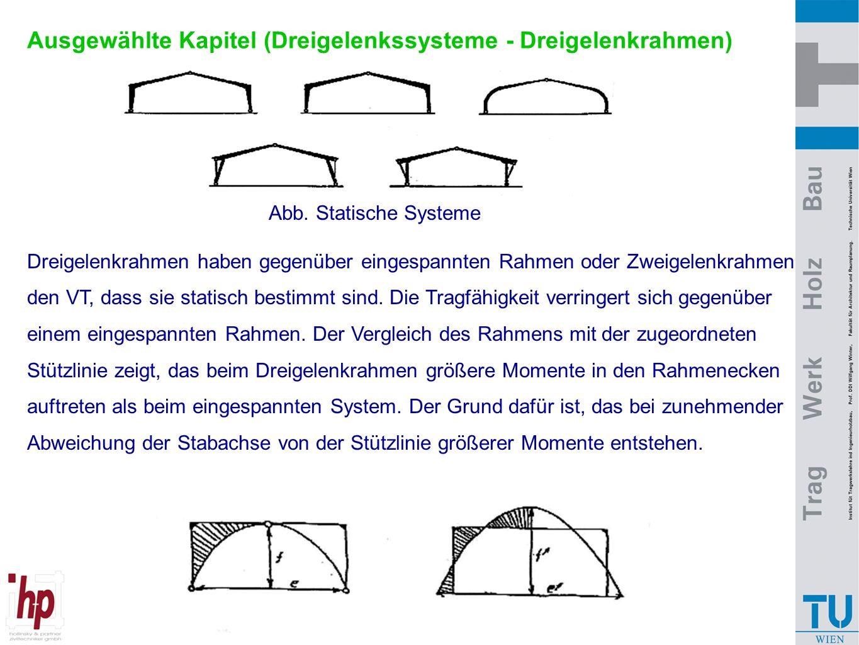 Ausgewählte Kapitel (Dreigelenkssysteme - Dreigelenkrahmen) Abb. Statische Systeme Dreigelenkrahmen haben gegenüber eingespannten Rahmen oder Zweigele