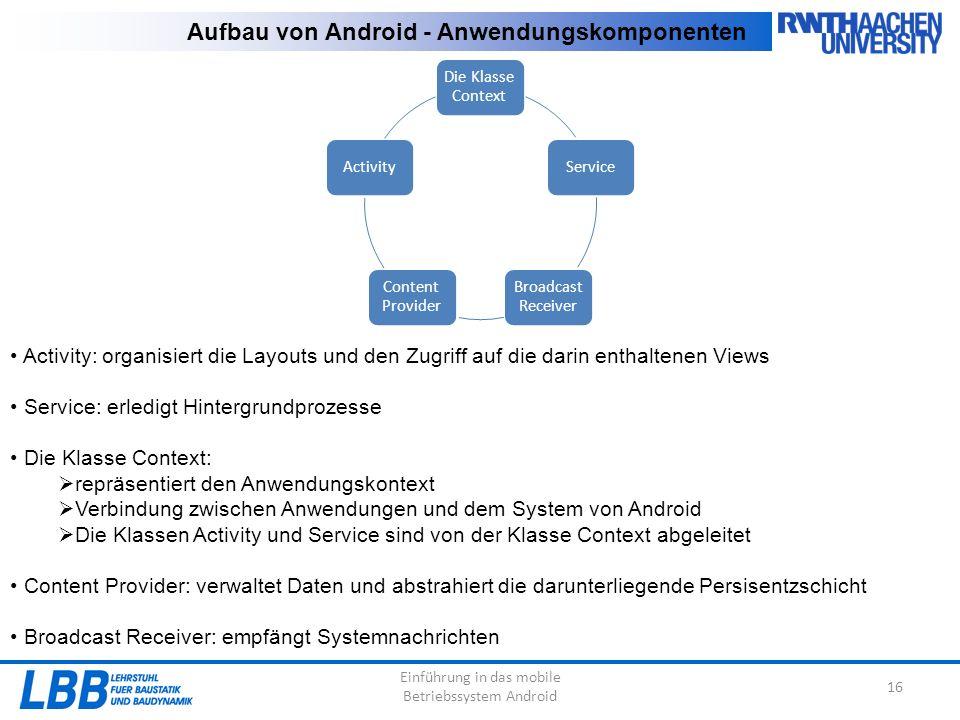 Einführung in das mobile Betriebssystem Android 16 Aufbau von Android - Anwendungskomponenten Die Klasse Context Service Broadcast Receiver Content Pr
