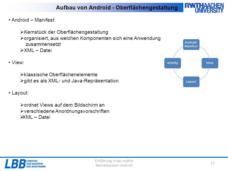 Android – Manifest:  Kernstück der Oberflächengestaltung  organisiert, aus welchen Komponenten sich eine Anwendung zusammensetzt  XML – Datei View:  klassische Oberflächenelemente  gibt es als XML- und Java-Repräsentation Layout:  ordnet Views auf dem Bildschirm an  verschiedene Anordnungsvorschriften  XML – Datei Einführung in das mobile Betriebssystem Android 17 Aufbau von Android - Oberflächengestaltung Android- Manifest ViewLayoutActivity
