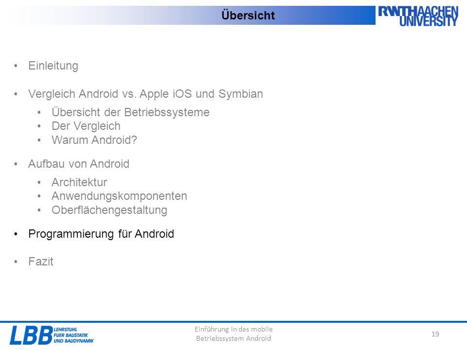 Einführung in das mobile Betriebssystem Android 19 Übersicht Einleitung Vergleich Android vs. Apple iOS und Symbian Übersicht der Betriebssysteme Der