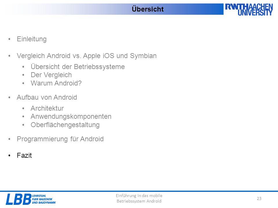 Einführung in das mobile Betriebssystem Android 23 Übersicht Einleitung Vergleich Android vs. Apple iOS und Symbian Übersicht der Betriebssysteme Der