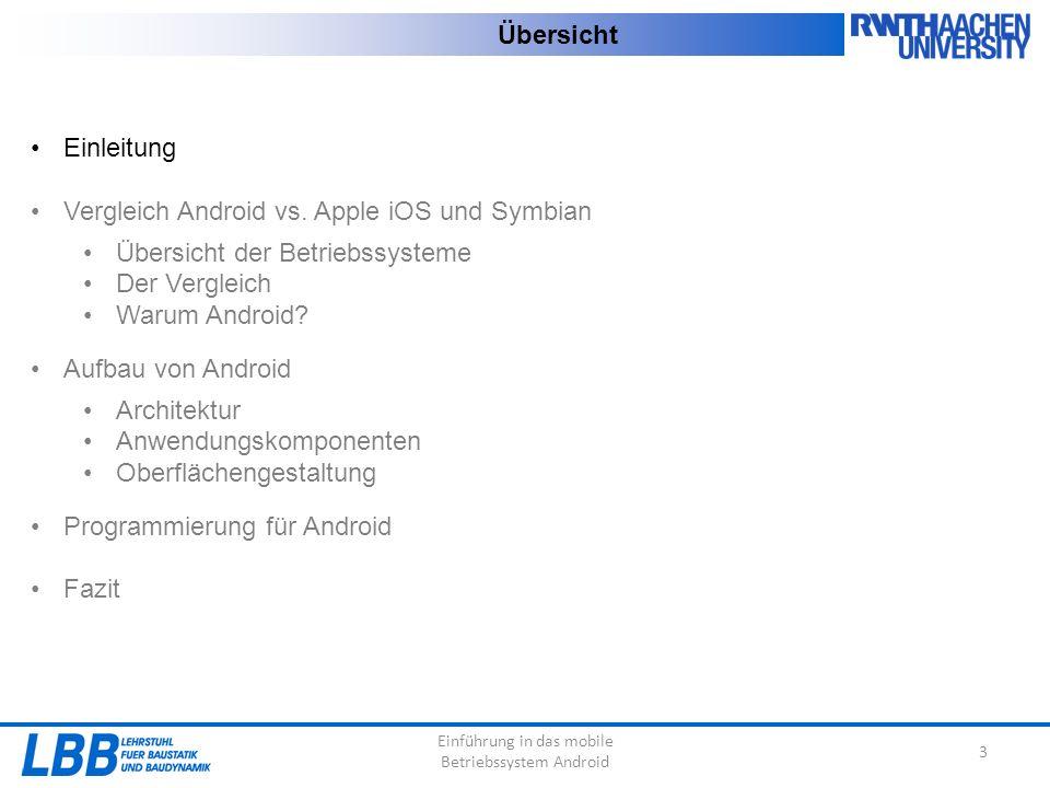 Einführung in das mobile Betriebssystem Android 3 Übersicht Einleitung Vergleich Android vs. Apple iOS und Symbian Übersicht der Betriebssysteme Der V