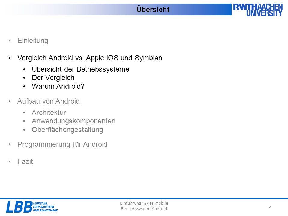 Einführung in das mobile Betriebssystem Android 5 Übersicht Einleitung Vergleich Android vs. Apple iOS und Symbian Übersicht der Betriebssysteme Der V