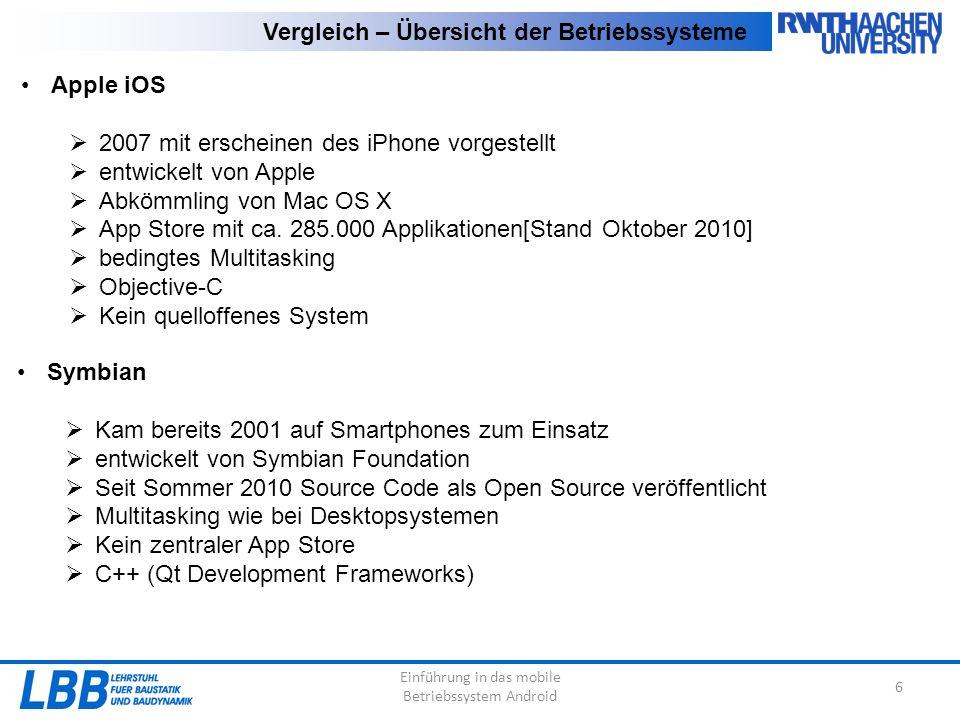 Einführung in das mobile Betriebssystem Android 6 Vergleich – Übersicht der Betriebssysteme Apple iOS  2007 mit erscheinen des iPhone vorgestellt  entwickelt von Apple  Abkömmling von Mac OS X  App Store mit ca.