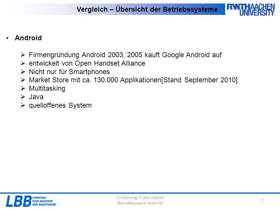 Einführung in das mobile Betriebssystem Android 8 Vergleich AndroidiOSSymbian Programmier- sprache Java Objective CC++ QuelloffenheitOffenClosedTeilweise Offen Zukunfts- aussichten Sehr gut Schlecht Entwickelt von:Open Handset AllianceAppleSymbian Foundation Ausgelegt auf:Multi-Touch-Screen Tastatur Endgerät- auswahl Groß(+wachsend)Sehr geringGroß(-sinkend) App Store Gut sortiert und stetig wachsend Gut sortiert und stetig wachsend, jedoch nicht so schnell wie Android Kein allgemeiner Store für Symbian, jede Firma hat seinen eigenen Store Markt- entwicklung Sehr positivPositivNegativ Kosten für Entwicklung -99$/Jahr-
