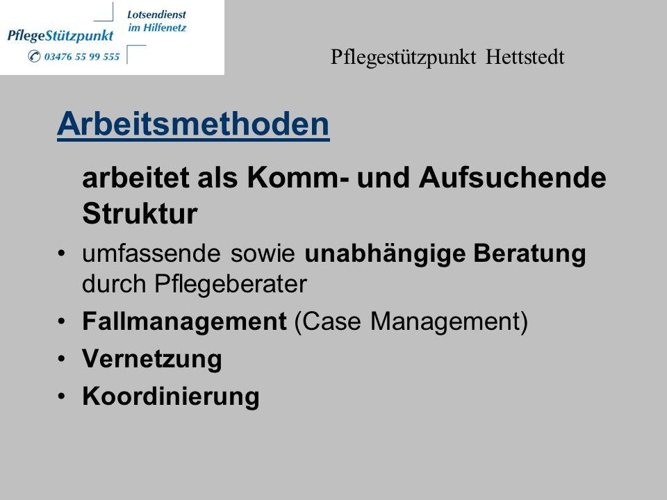 Arbeitsmethoden arbeitet als Komm- und Aufsuchende Struktur umfassende sowie unabhängige Beratung durch Pflegeberater Fallmanagement (Case Management) Vernetzung Koordinierung Pflegestützpunkt Hettstedt