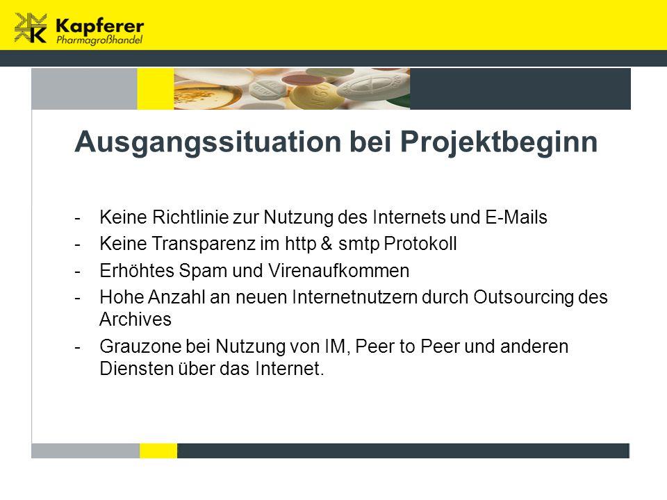 Ausgangssituation bei Projektbeginn -Keine Richtlinie zur Nutzung des Internets und E-Mails -Keine Transparenz im http & smtp Protokoll -Erhöhtes Spam