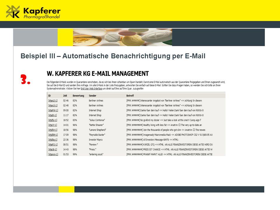 3. Beispiel III – Automatische Benachrichtigung per E-Mail