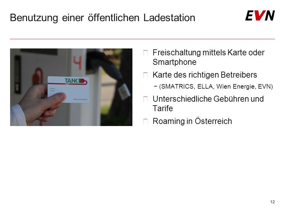 Benutzung einer öffentlichen Ladestation 12  Freischaltung mittels Karte oder Smartphone  Karte des richtigen Betreibers −(SMATRICS, ELLA, Wien Energie, EVN)  Unterschiedliche Gebühren und Tarife  Roaming in Österreich