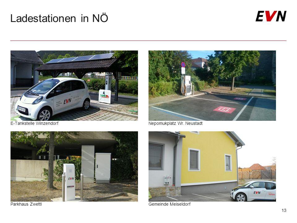 Ladestationen in NÖ 13 E-Tankstelle WinzendorfNepomukplatz Wr. Neustadt Gemeinde Meiseldorf Parkhaus Zwettl