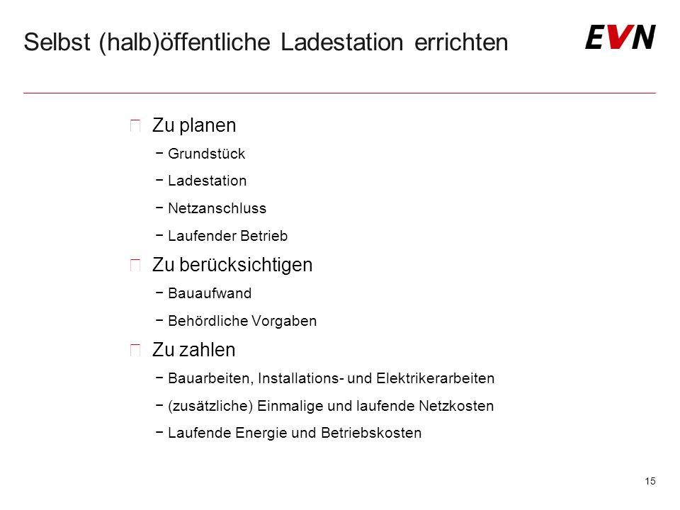 Selbst (halb)öffentliche Ladestation errichten  Zu planen −Grundstück −Ladestation −Netzanschluss −Laufender Betrieb  Zu berücksichtigen −Bauaufwand