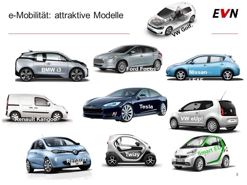 e-Mobilität: attraktive Modelle 3 BMW i3 Ford Focus Tesla Nissan LEAF Renault Renault Kangoo VW eUp! Twizy Smart ED VW Golf.