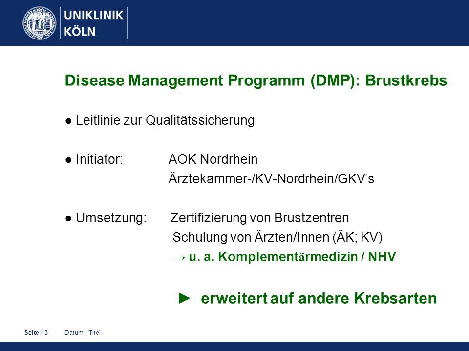 Datum | TitelSeite 13 Disease Management Programm (DMP): Brustkrebs ● Leitlinie zur Qualitätssicherung ● Initiator: AOK Nordrhein Ärztekammer-/KV-Nord