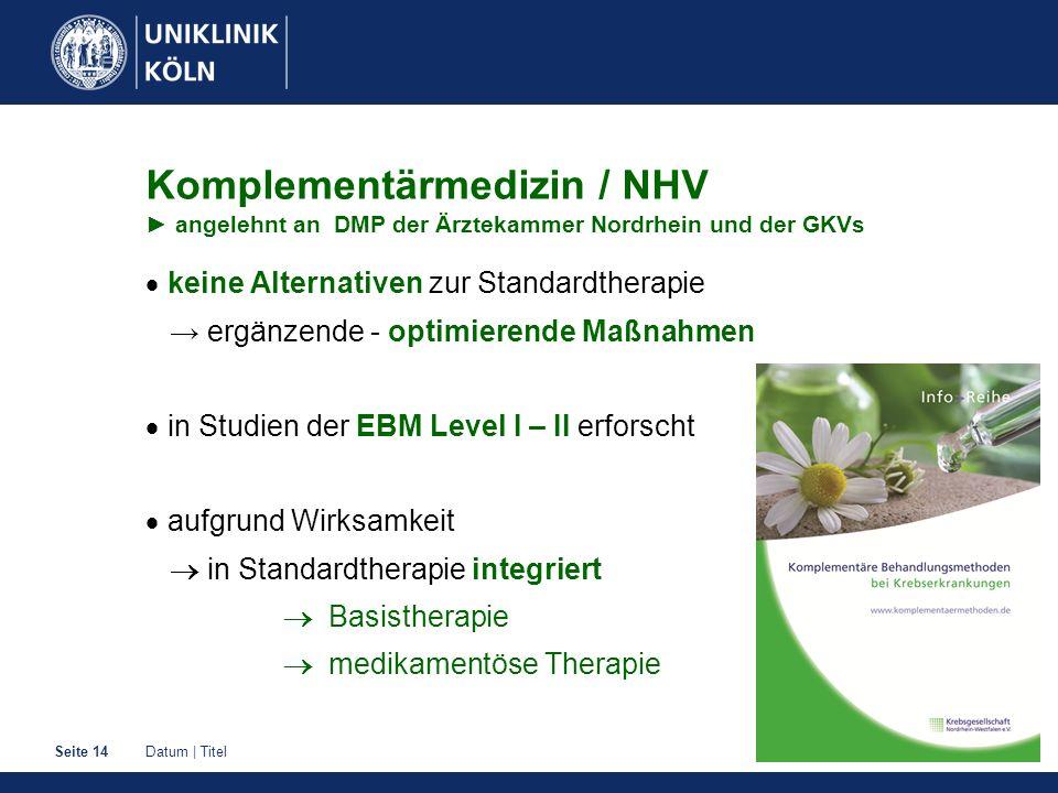 Datum | TitelSeite 14 Komplementärmedizin / NHV ► angelehnt an DMP der Ärztekammer Nordrhein und der GKVs  keine Alternativen zur Standardtherapie →