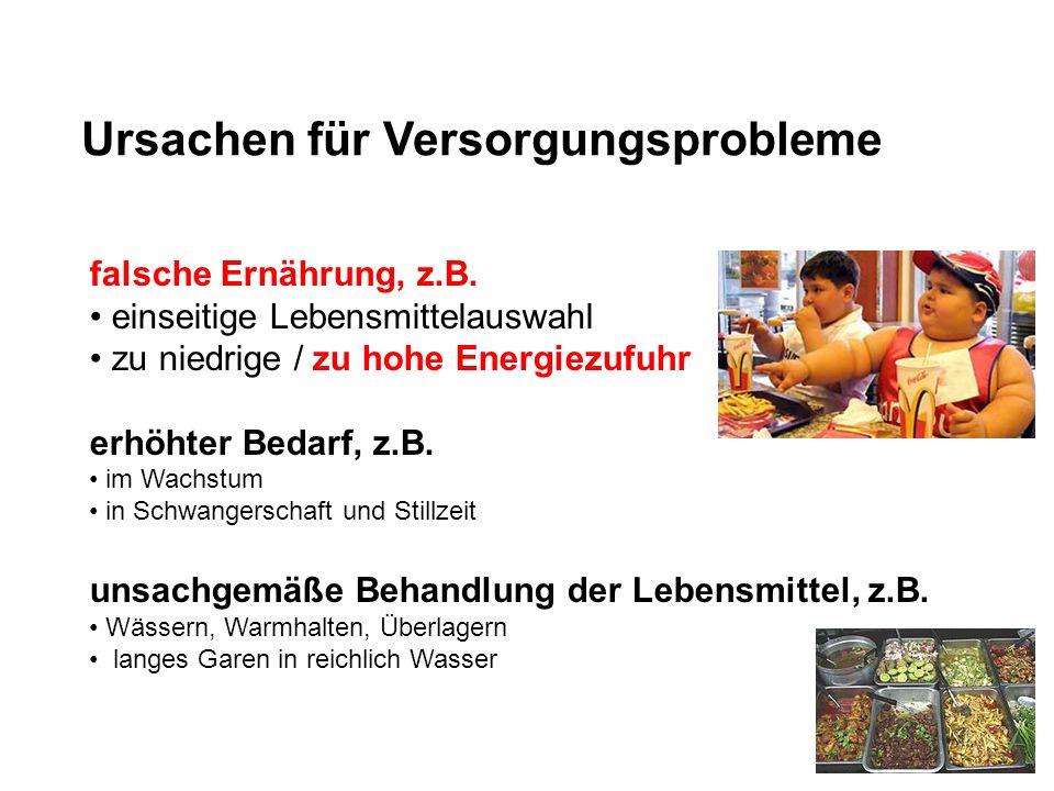 Ursachen für Versorgungsprobleme falsche Ernährung, z.B. einseitige Lebensmittelauswahl zu niedrige / zu hohe Energiezufuhr erhöhter Bedarf, z.B. im W