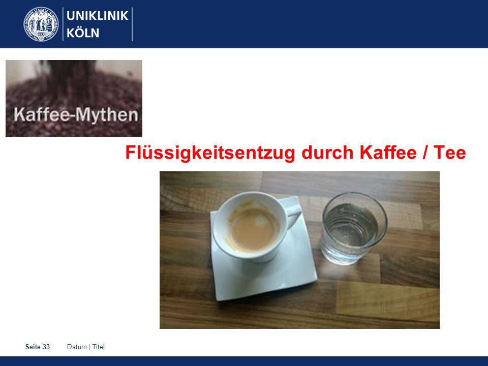 Datum | TitelSeite 33 Flüssigkeitsentzug durch Kaffee / Tee
