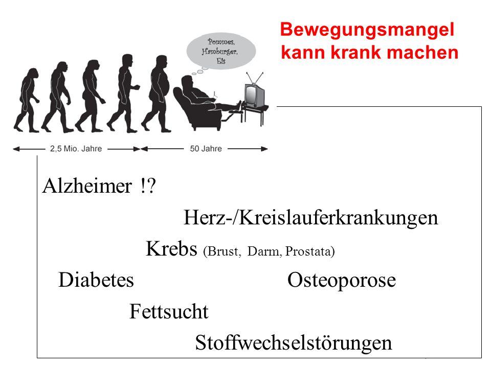 Alzheimer !? Herz-/Kreislauferkrankungen Krebs (Brust, Darm, Prostata) Diabetes Osteoporose Fettsucht Stoffwechselstörungen Bewegungsmangel kann krank