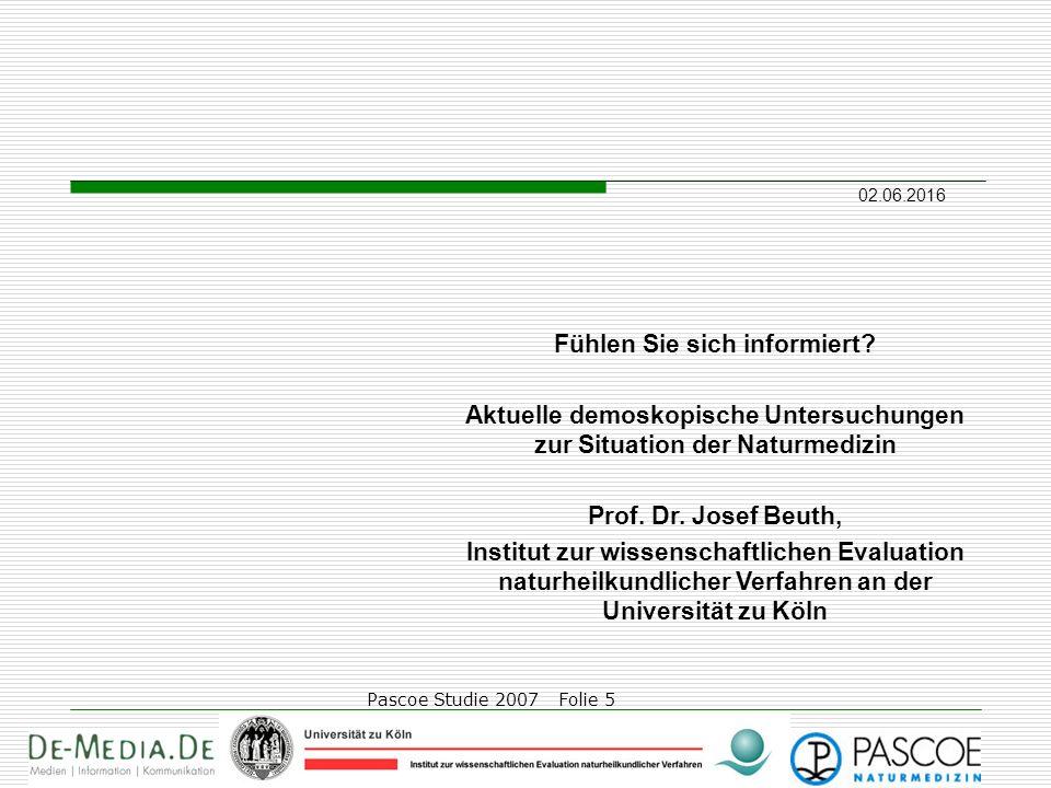 02.06.2016 Pascoe Studie 2007 Folie 5 Fühlen Sie sich informiert? Aktuelle demoskopische Untersuchungen zur Situation der Naturmedizin Prof. Dr. Josef