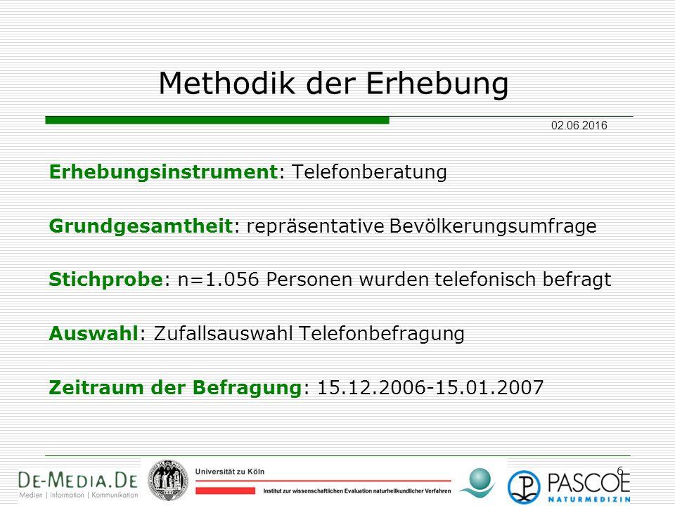 02.06.2016 6 Methodik der Erhebung Erhebungsinstrument: Telefonberatung Grundgesamtheit: repräsentative Bevölkerungsumfrage Stichprobe: n=1.056 Person