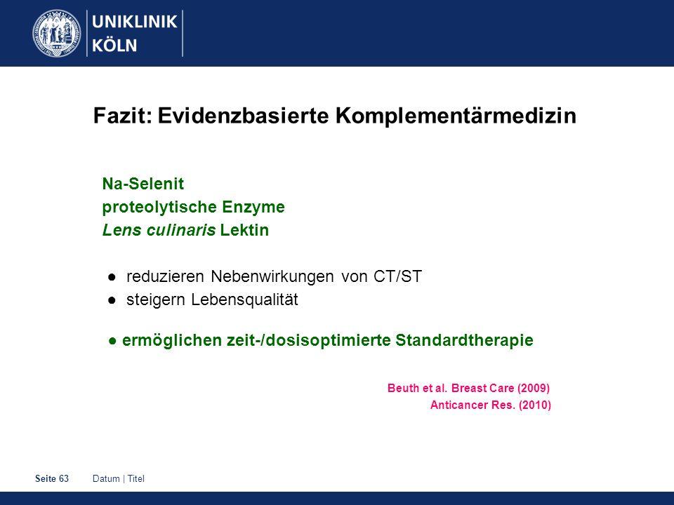 Datum | TitelSeite 63 Fazit: Evidenzbasierte Komplementärmedizin Na-Selenit proteolytische Enzyme Lens culinaris Lektin ● reduzieren Nebenwirkungen vo