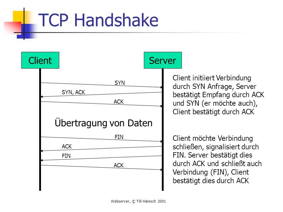 Webserver, © Till Hänisch 2001 TCP Handshake ClientServer SYN SYN, ACK ACK Übertragung von Daten FIN ACK FIN Client initiiert Verbindung durch SYN Anfrage, Server bestätigt Empfang durch ACK und SYN (er möchte auch), Client bestätigt durch ACK Client möchte Verbindung schließen, signalisiert durch FIN.