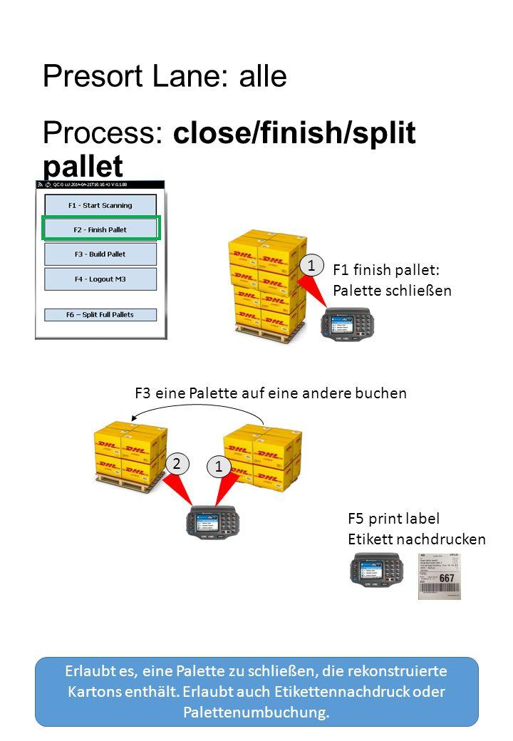 Presort Lane: alle Process: close/finish/split pallet Erlaubt es, eine Palette zu schließen, die rekonstruierte Kartons enthält.