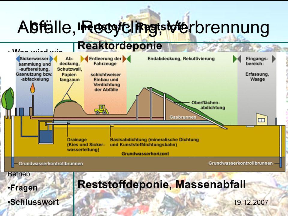 Abfälle, Recycling, Verbrennung Was wird wie entsorgt? Im Haushalt und im Betrieb Deponie Verbrennung Recycling Vermeidung Zu Hause und im Betrieb Fra
