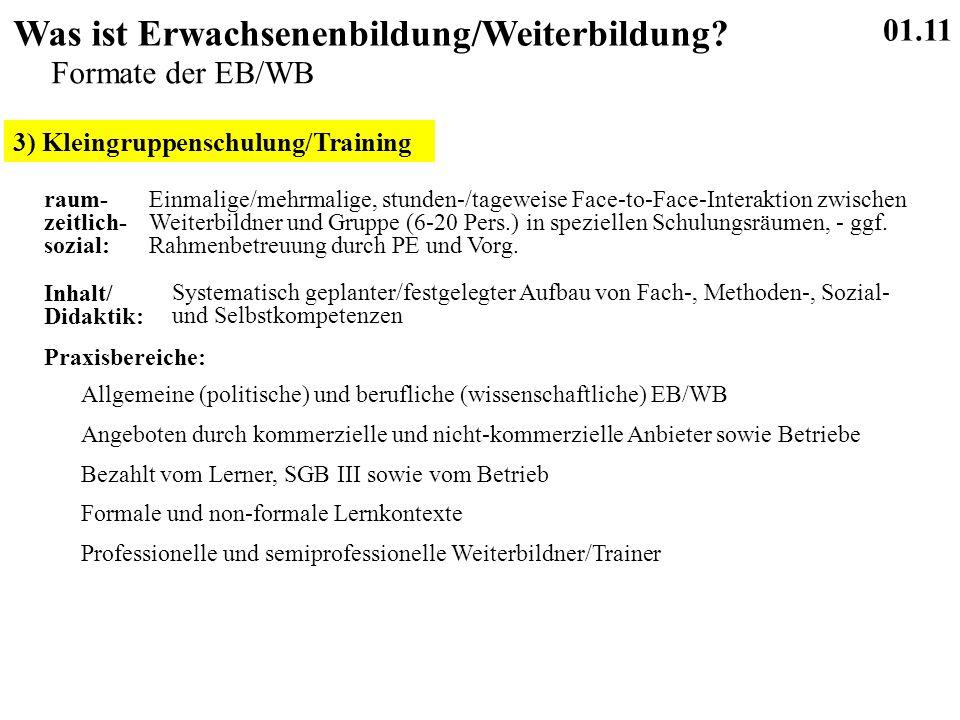 3) Kleingruppenschulung/Training 01.11 Was ist Erwachsenenbildung/Weiterbildung.