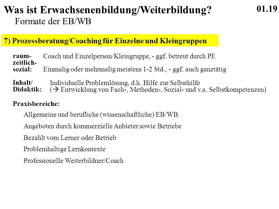 7) Prozessberatung/Coaching für Einzelne und Kleingruppen 01.19 Was ist Erwachsenenbildung/Weiterbildung.