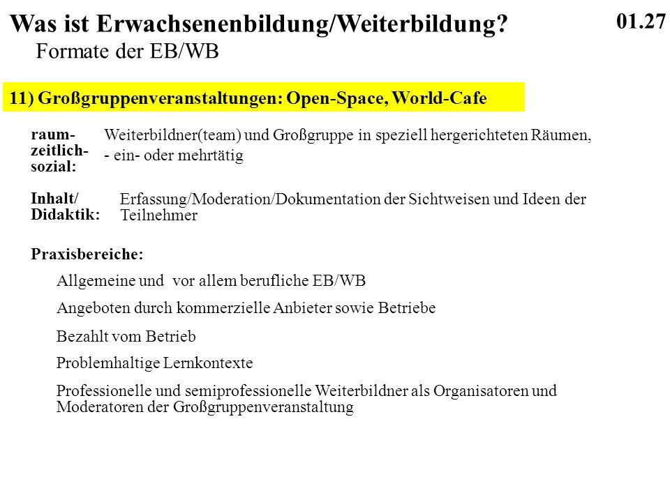 11) Großgruppenveranstaltungen: Open-Space, World-Cafe 01.27 Was ist Erwachsenenbildung/Weiterbildung.